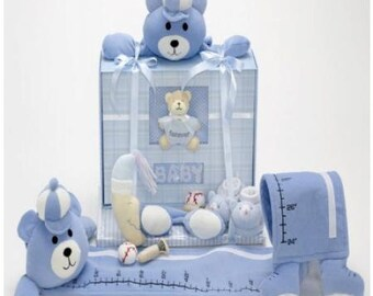 Blue Bear Baby Book and Growth Chart Gift