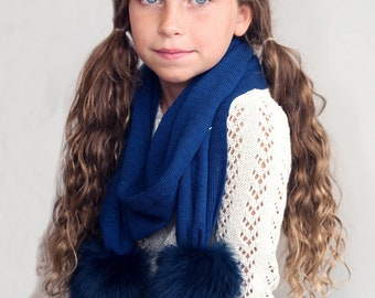 Navy Bella Kids Pom Pom Scarf with Monogram