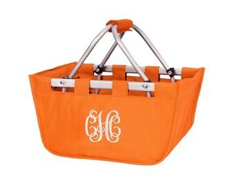 Mini Orange Monogram Market Tote Basket, Large Personalized Basket