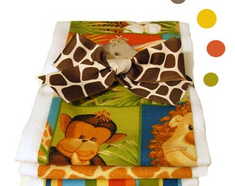 Jungle Safari Burp Cloth Set - Optional Personalization