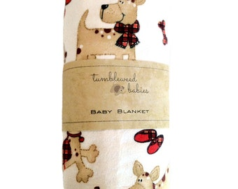Plaid Puppy Dog Baby Receiving Blanket /Swaddle Blanket/Newborn Flannel Blanket
