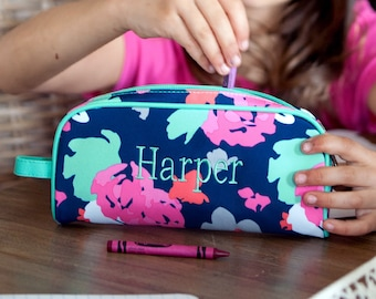Amelia Girls Monogrammed Pencil Pouch, Back to School