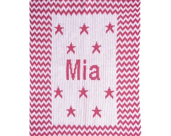 Chevron and Stars Personalized Knit Blanket (stroller, crib and throw blanket sizes)