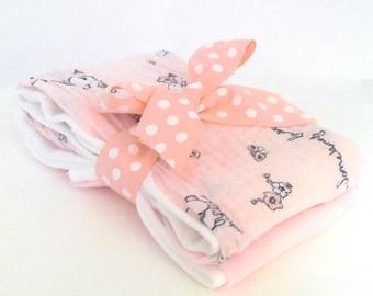 Somebunny Loves Me Muslin Gauze Burp Cloths - Baby Shower Gift