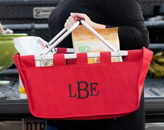Red Monogram Market Tote Basket, Large Personalized Basket