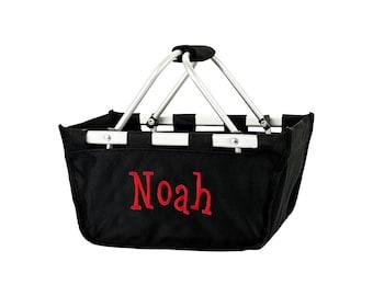 Mini Black Monogram Market Tote Basket, Large Personalized Basket