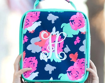 Amelia Girls Monogrammed Lunch Box, Monogram Lunch Bag, Back to School