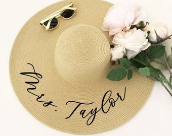 Personalized Straw Sun Hat - White, Tan or Blush Colors