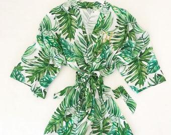 Women's Cotton Monogram Palm Leaf Robe
