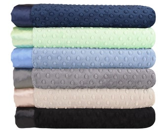 Minky Dot Baby Blankets - Navy Sage Collection