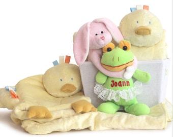Super Plush Personalized Baby Girl Gift Basket