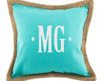 Monogram Turquoise Canvas with Jute Trim Pillow Cover