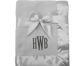 Personalized Grey Fleece Blanket for Baby with Satin Trim