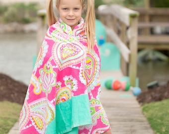 Lizzie Paisley Beach Towel, Personalized Beach Towel, Monogram Towel