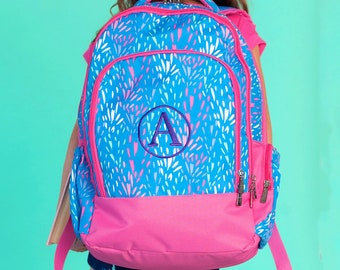Sparktacular Girls Monogrammed Backpack, Monogram Book Bag, Back to School