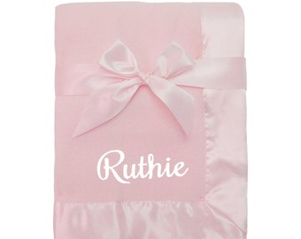 Personalized Pink Fleece Blanket for Baby with Satin Trim