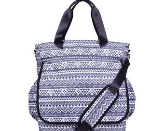 Black and White Aztec Tote Diaper Bag