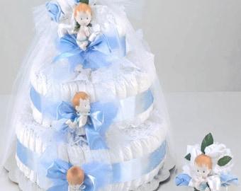 Delightful Blue Diaper Cake Baby Gift