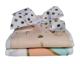 Blush and Gold Flamingo Burp Cloth Set