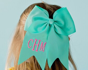 Mint Monogram Jumbo Hair Bow, Personalized Girl's Bows