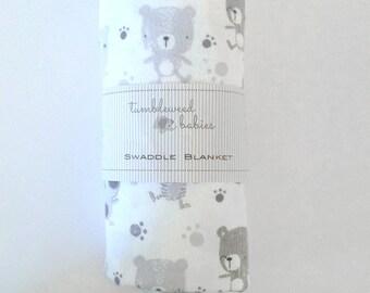 Happy Bears Flannel Baby Receiving Blanket/Swaddle Blanket