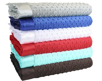 Minky Dot Baby Blankets - Silver Blue Collection