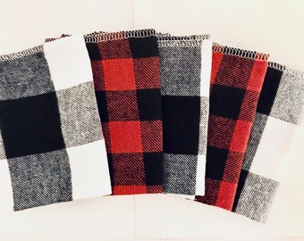 Buffalo Plaid Flannel Cloths, School Lunch Napkins, Soft Kids Cloth Napkins, Set of 5