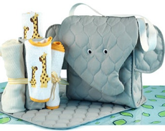 Elephant Diaper Tote Gift Set - Optional Personalization