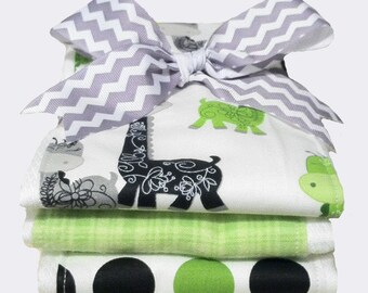 Mod Lime Giraffe Burp Cloths With Optional Personalization
