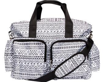 Black and White Aztec Deluxe Duffel Diaper Bag