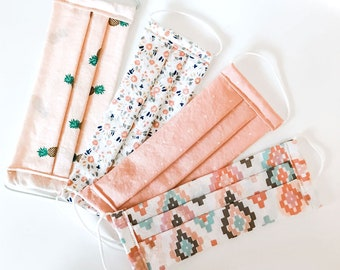 Social Comfort Fabric Face Masks - Blush Dots, Pineapple and Floral