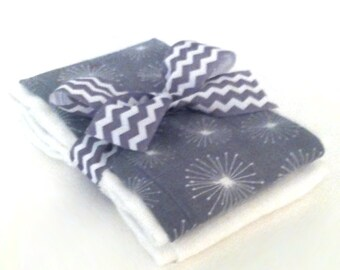 Grey Starburst Muslin Gauze Burp Cloths - Baby Shower Gift