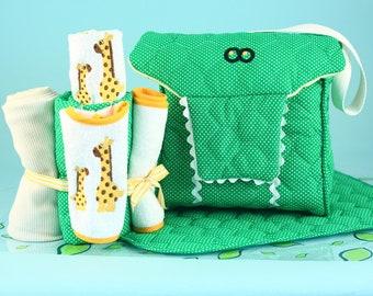 Alligator Diaper Tote Gift Set - Optional Personalization