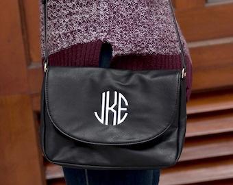Black Anna Monogrammed Crossbody Purse, Personalized Bag