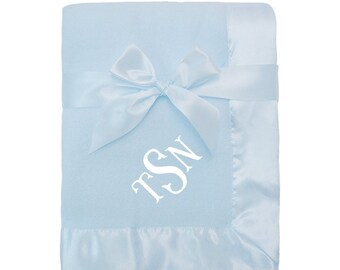 Personalized Blue Fleece Blanket for Baby with Satin Trim