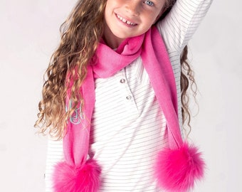Hot Pink Bella Kids Pom Pom Scarf with Monogram