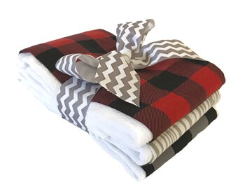 Lumberjack Plaid Burp Cloth Set - Baby Shower Gift