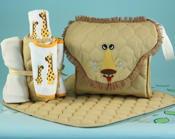 Lion Diaper Tote Gift Set - Optional Personalization