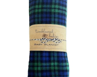 Blue Green Plaid Baby Receiving Blanket /Swaddle Blanket/Newborn Flannel Blanket