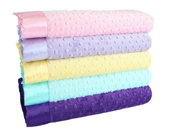 Minky Dot Baby Blankets - Pink Lavender Collection