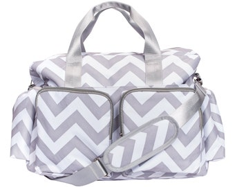 Grey and White Chevron Deluxe Duffel Style Diaper Bag