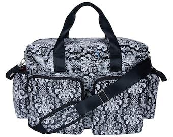 Midnight Fleur Damask Deluxe Duffel Style Diaper Bag