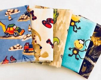 Boys Flannel Cloths, School Lunch Napkins, Soft Kids Cloth Napkins, Set of 5