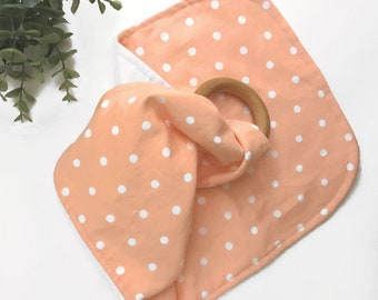 Sweet Coral Dots Lovie Teether Blanket for Baby - Optional Monogram