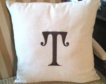 Monogram Natural Linen Look Pillow Cover