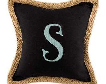 Monogram Black Canvas with Jute Trim Pillow Cover & Optional Pillow Insert