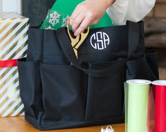 Black Monogram Carry All Bag, Large Personalized Organizer Bag
