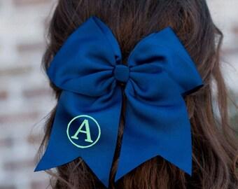 Navy Monogram Jumbo Hair Bow, Personalized Girl's Bows