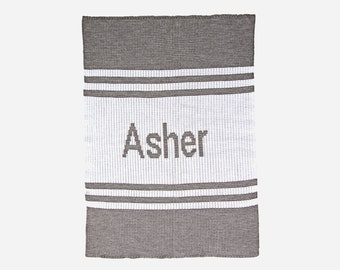 Pin Stripes Personalized Knit Blanket (stroller, crib and throw blanket sizes)