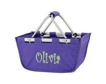 Mini Purple Monogram Market Tote Basket, Large Personalized Basket